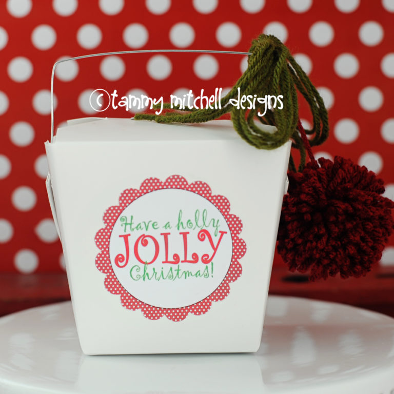 Holly jolly christmas gift idea with free printable tag and where to buy white take out boxes for gifts1