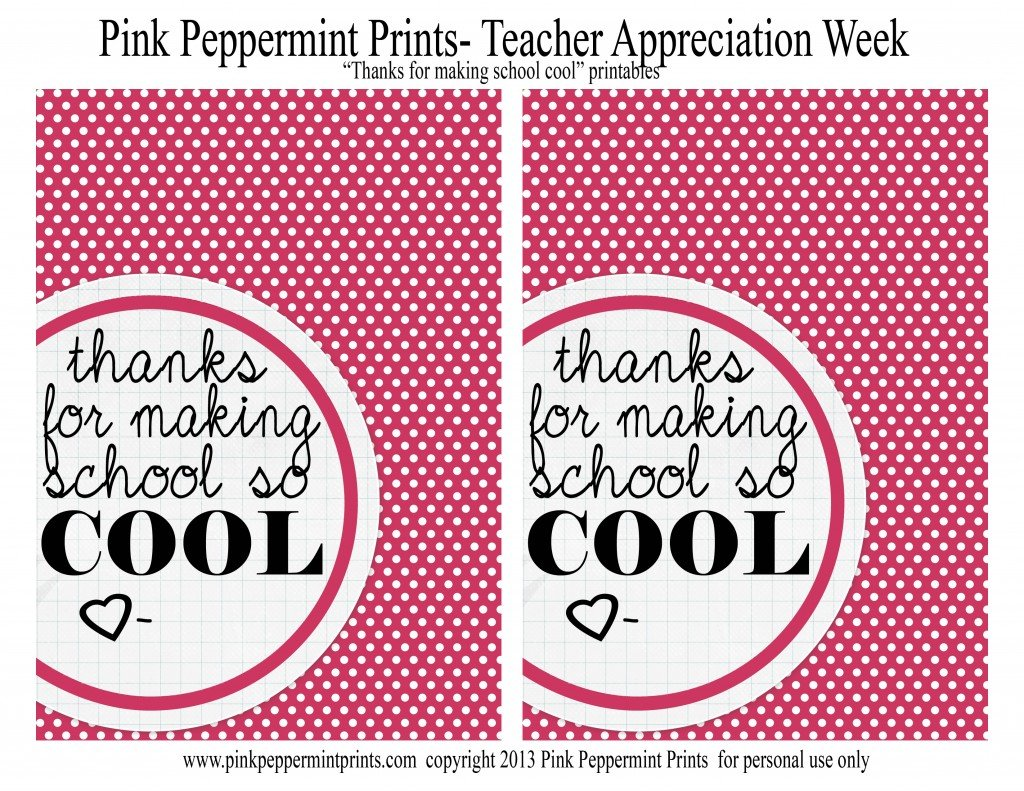 teacher appreciation Pink Peppermint Design