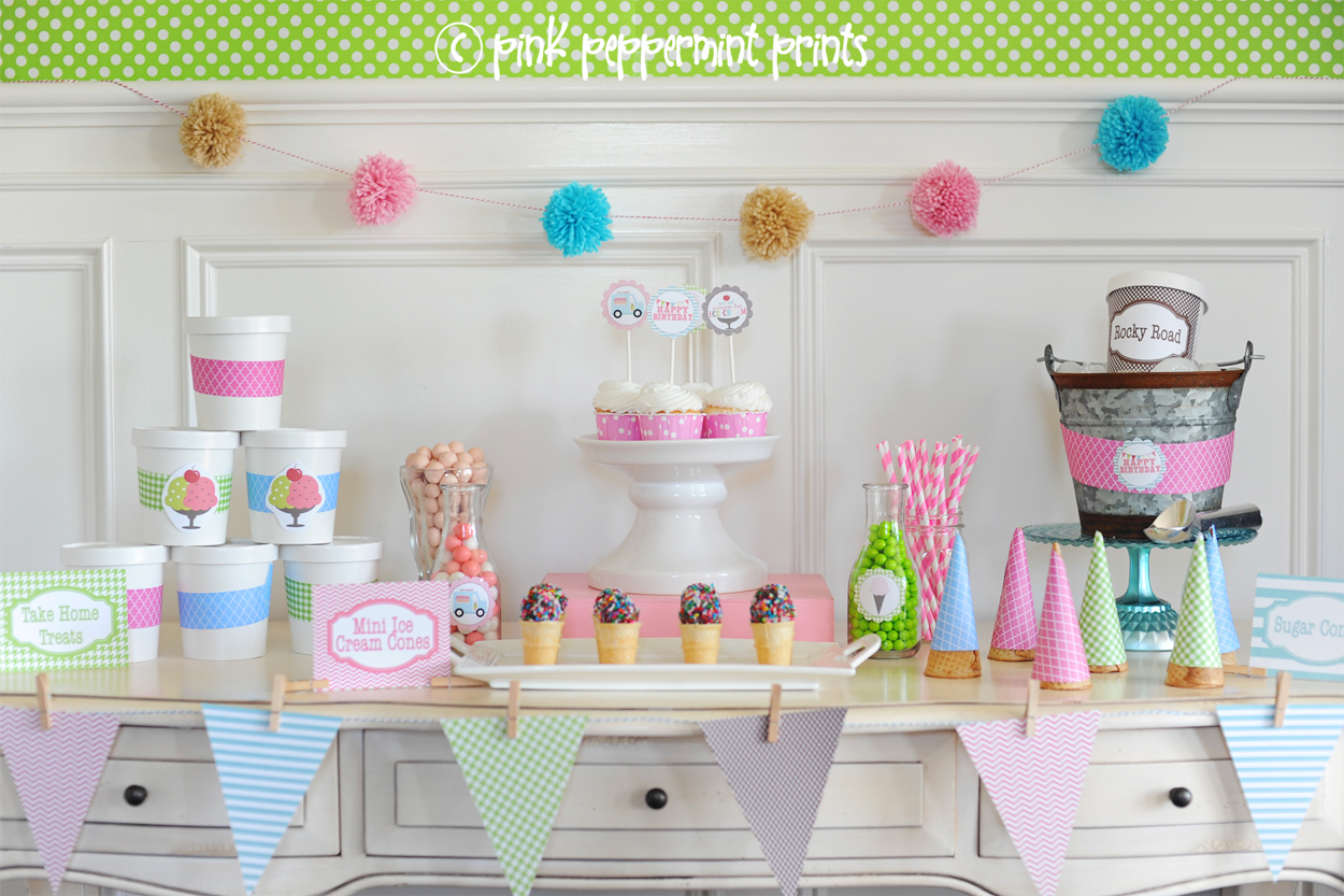 Ice Cream Party Decoration Ideas And Printables Pink Peppermint Design