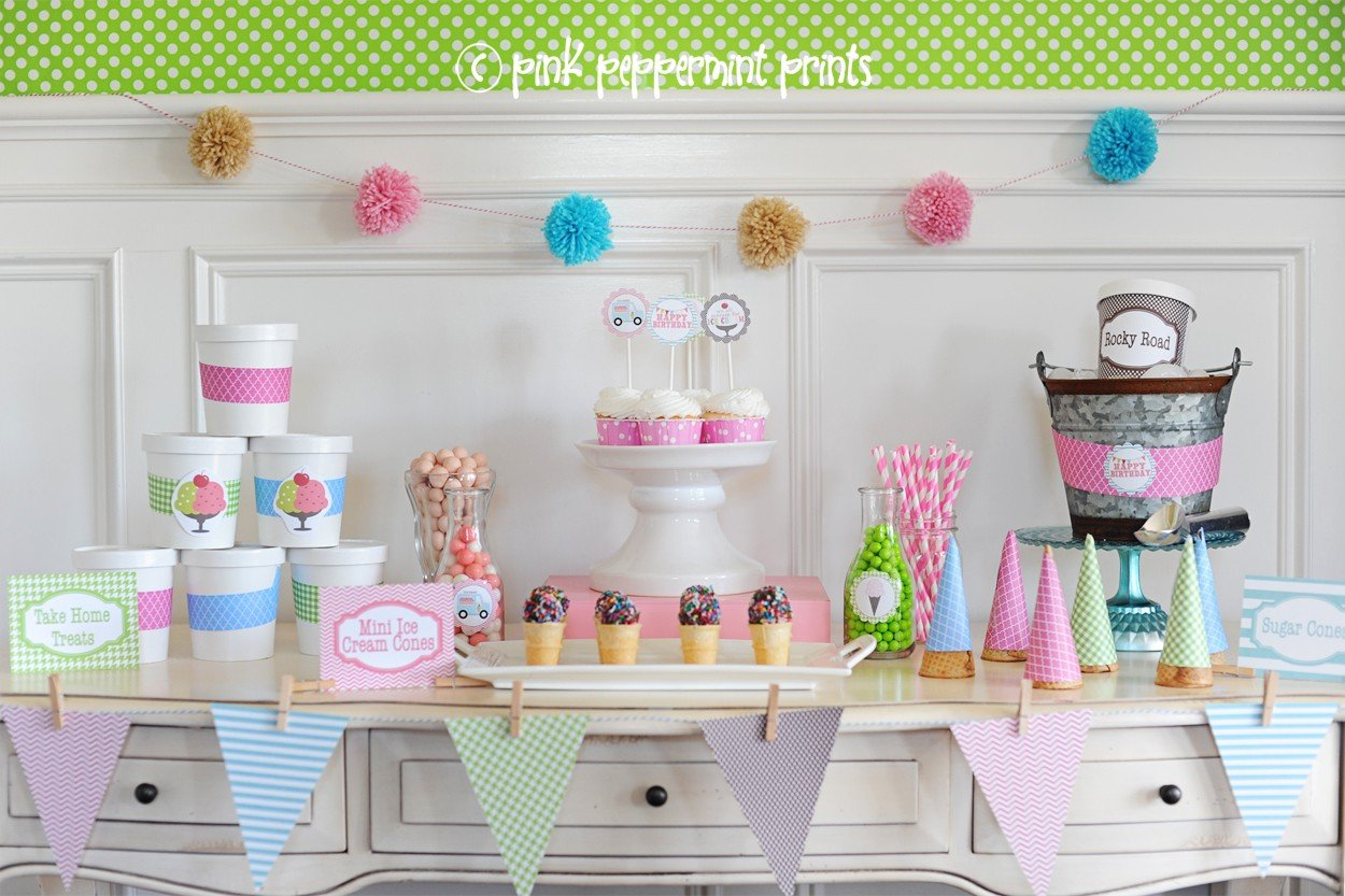 Ice Cream Party Ideas - Pink Peppermint Design