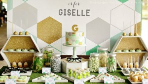 Girl Party Ideas: Baby Shower Ideas: Mint Green, Grey and Gold Geometric Party