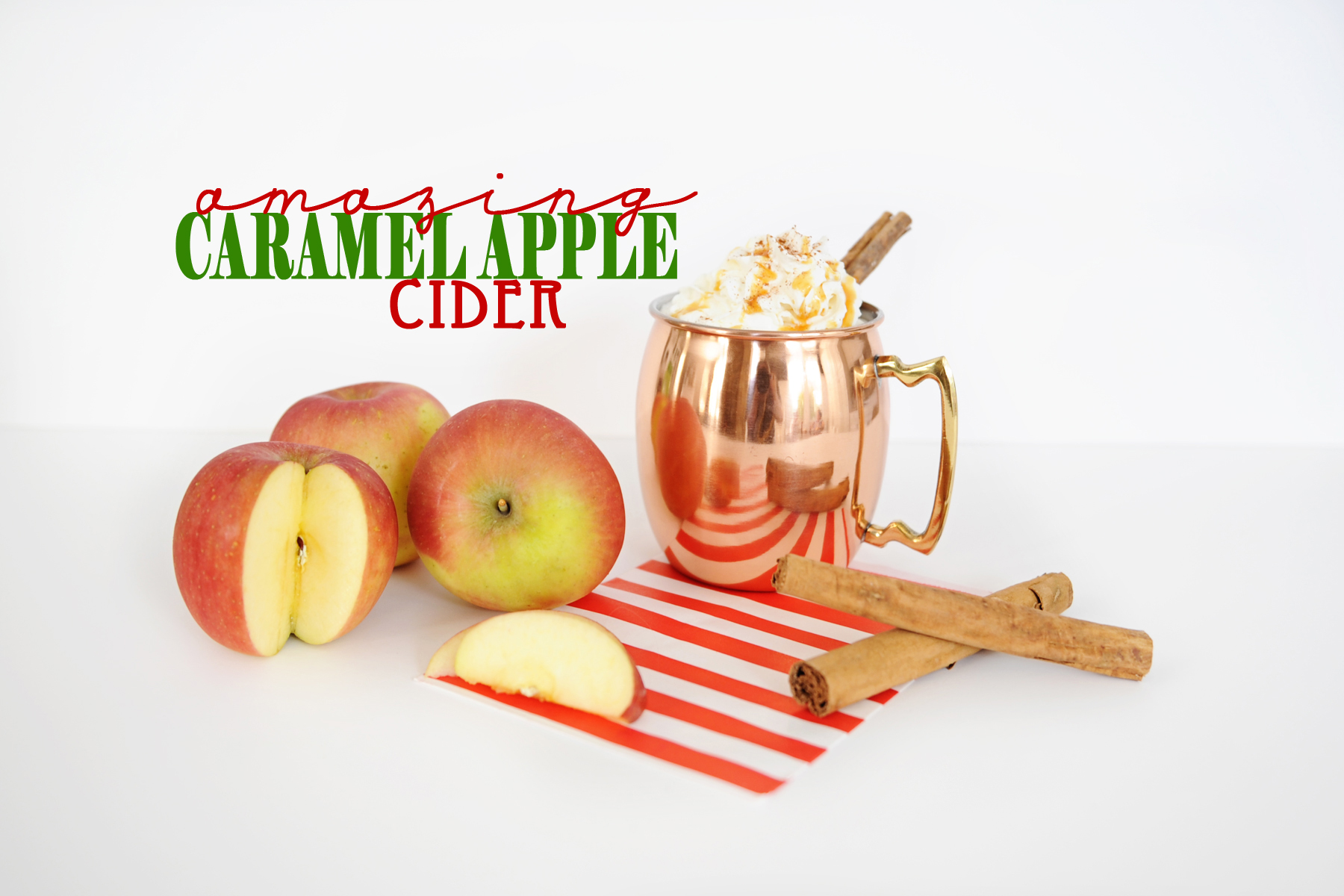 Caramel apple cider with text copy