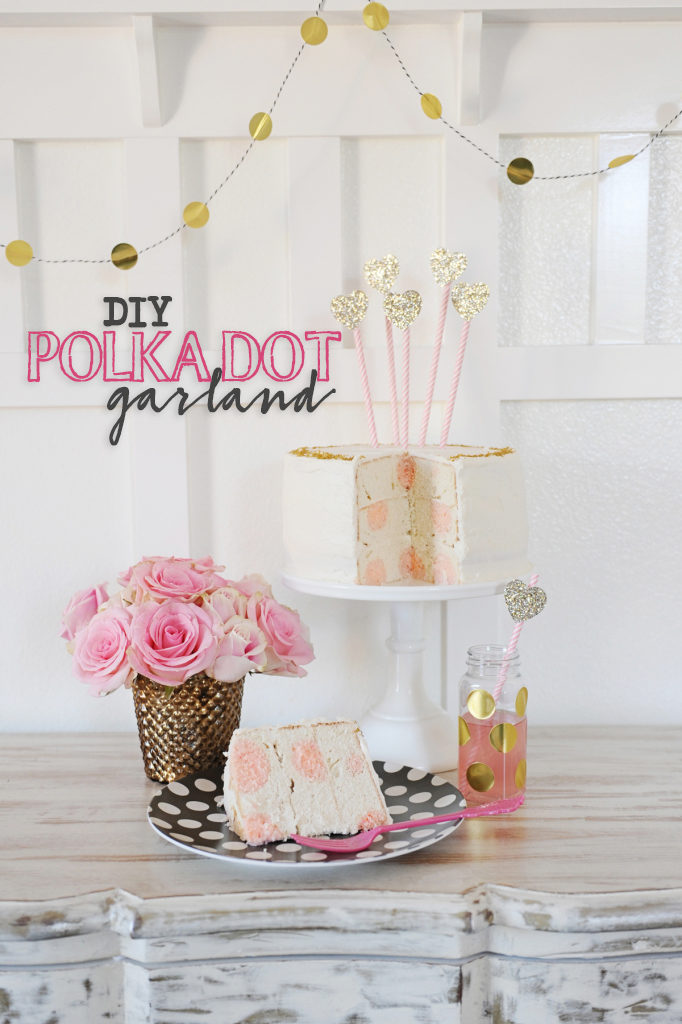 DIY Gold Polka Dot Sticker Garland idea by Tammy Mitchell