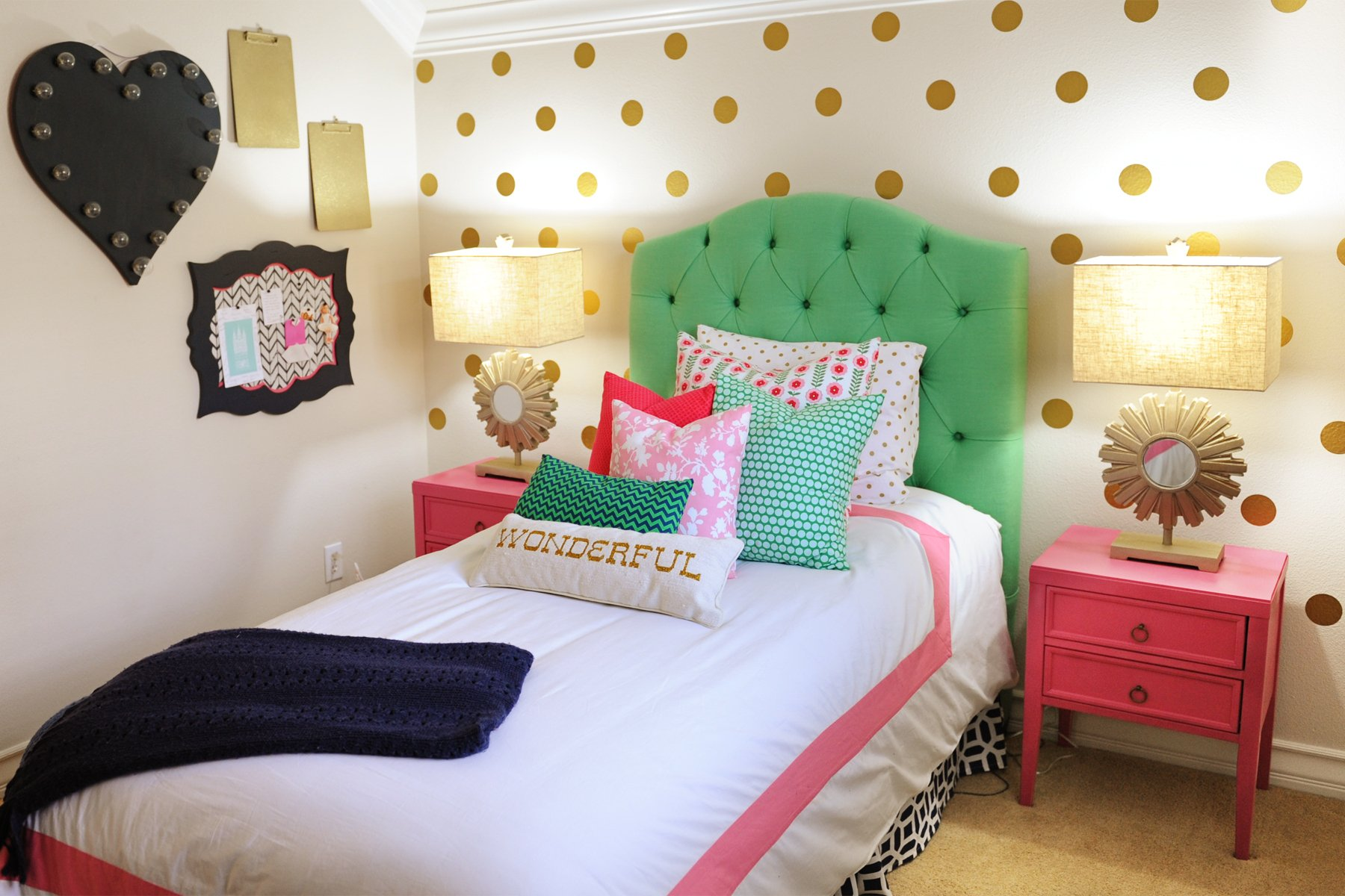 Tween Girl Bedroom Preppy Design Decor Ideas Pink Navy
