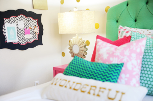 Tween Girl Bedroom Ideas : Preppy Teen Girl Bedroom in Pink, Navy and Green