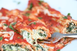 Spinach and Three Cheese Manicotti