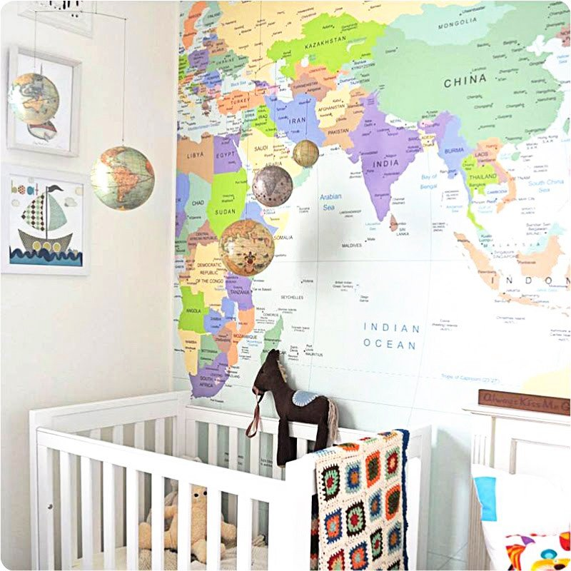 MAP World Map Wallpaper Removeable Decal Travel Nursery Copy