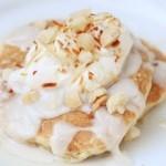 Banana Macadamia Pancakes with Coconut Syrup