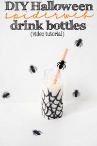 DIY Halloween Glitter Spiderweb Party Drink Bottles–Video Tutorial