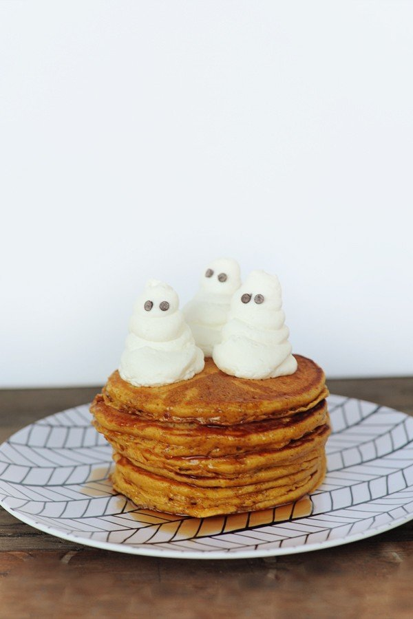 easy pumpkin pancakes recipe with whipped cream ghosts