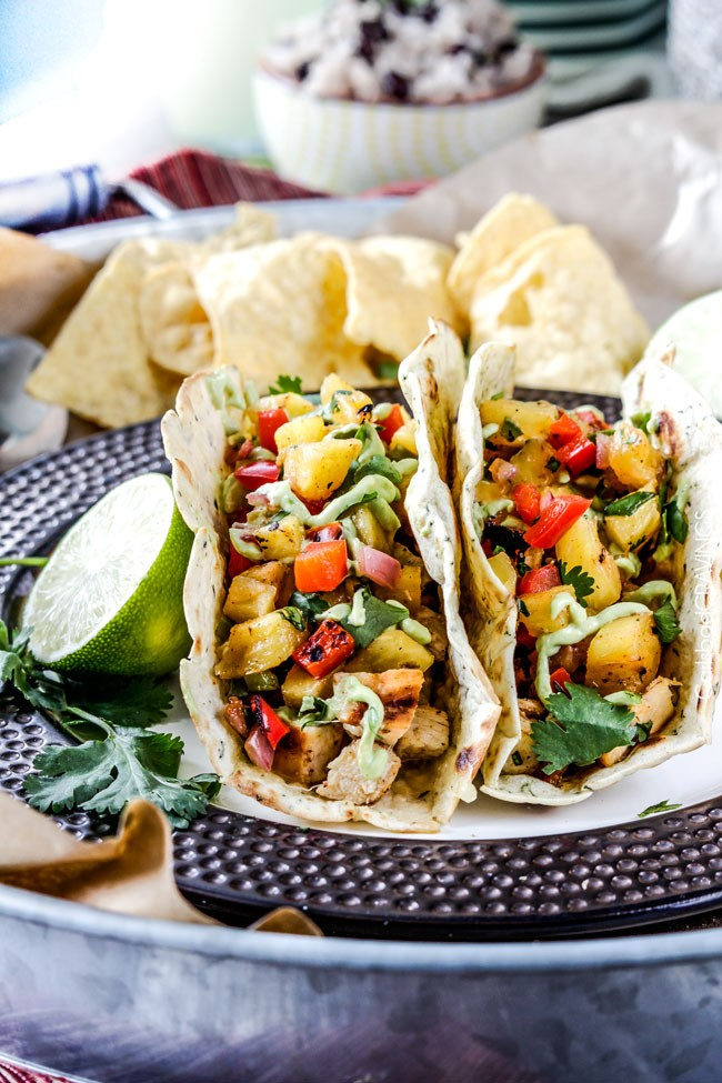 Chili lime chicken tacos with grilled pineapple salsa 002