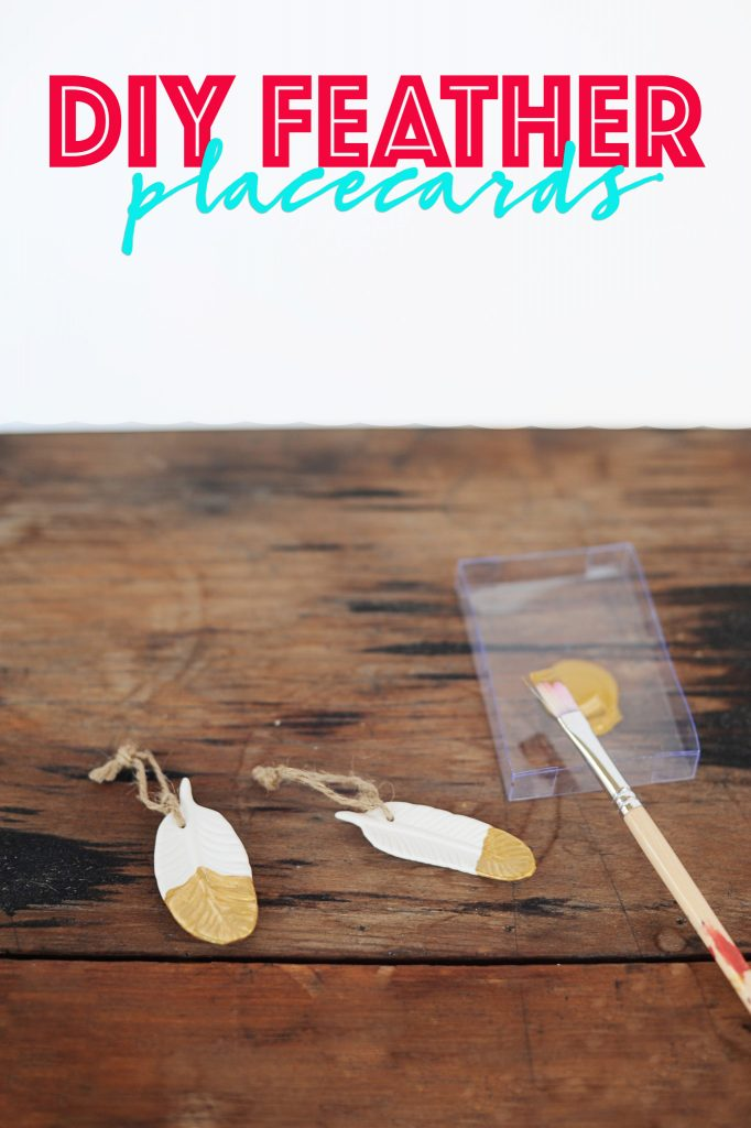 How to Make DIY Gold Dipped Feather Place Cards and Ornaments