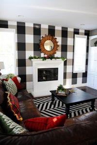Holiday Home Tour: Mad for Plaid- How to Create a DIY Buffalo Plaid Check Wall