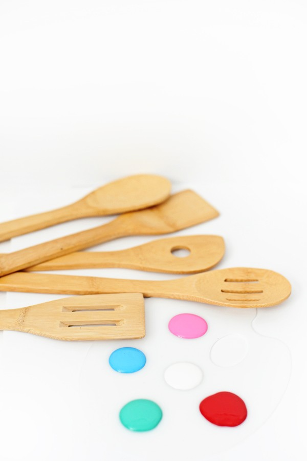 DIY painted wooden utensils