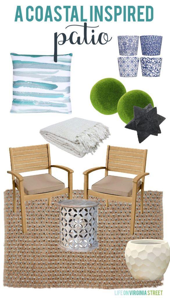 A coastal inspired patio design board via life on virginia street 585x1024