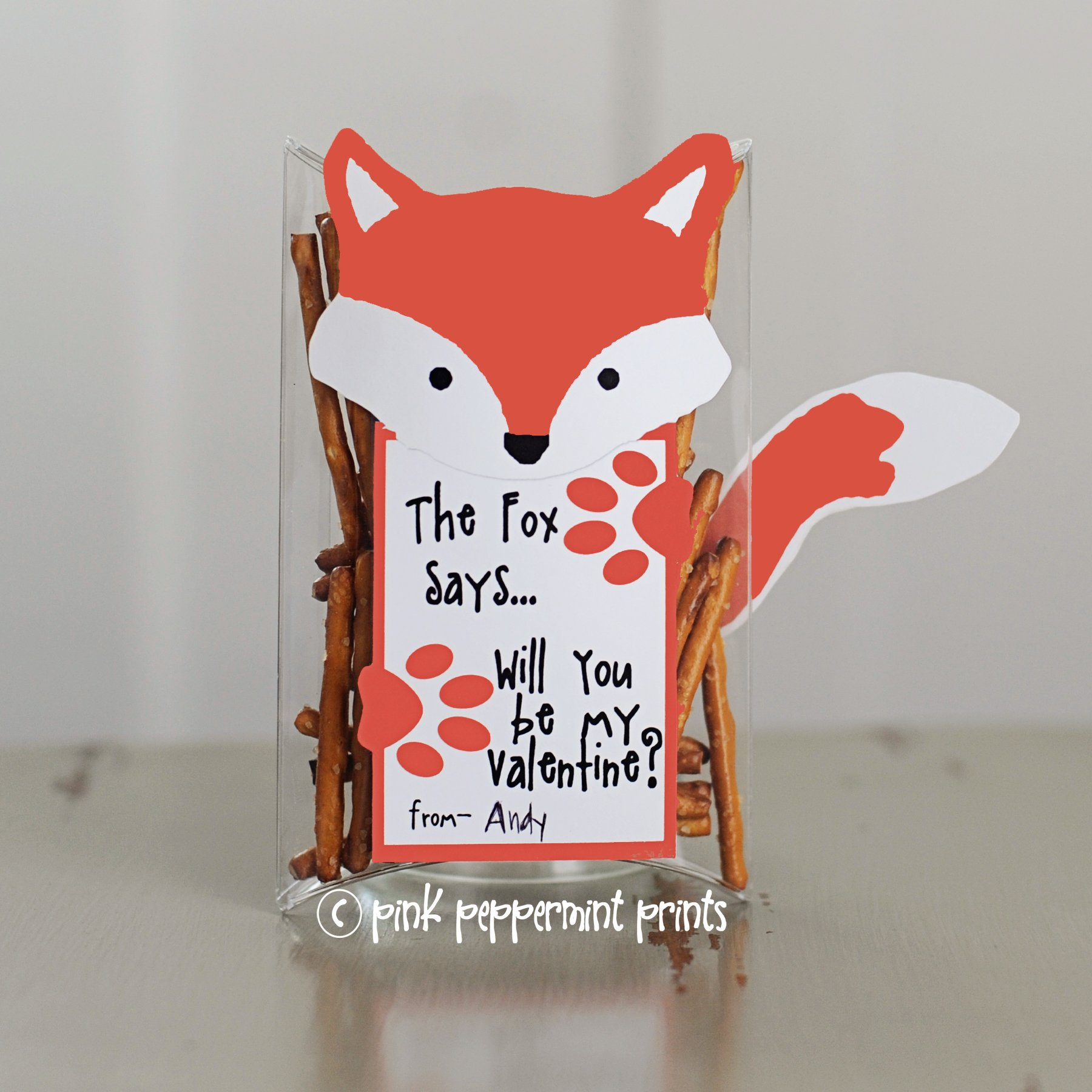 Free what does the fox say valentine printable