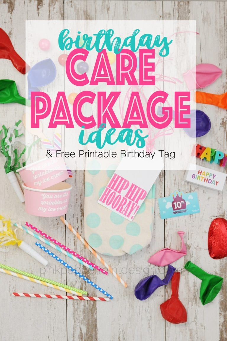 Birthday care package ideas and free printable tag