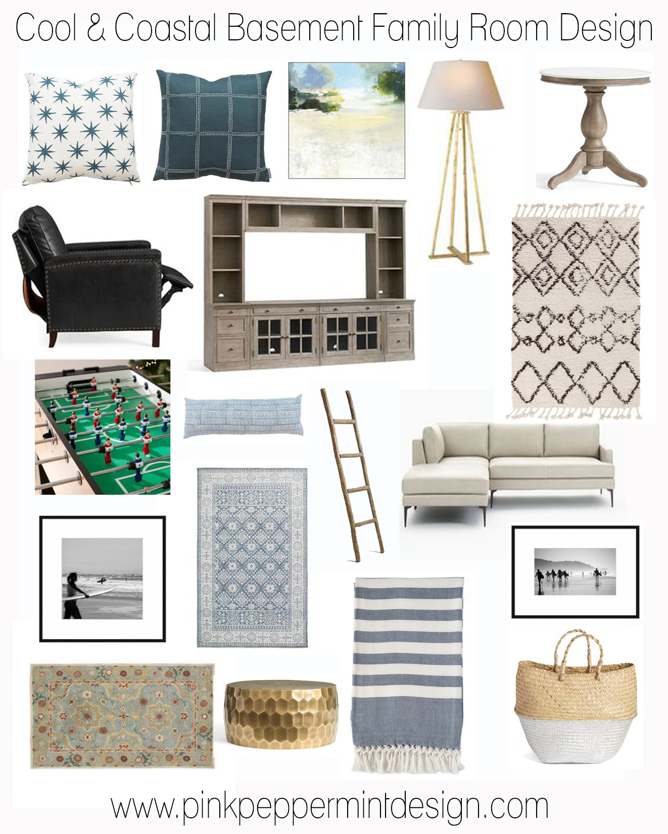 Cool and coastal basement family room design collage