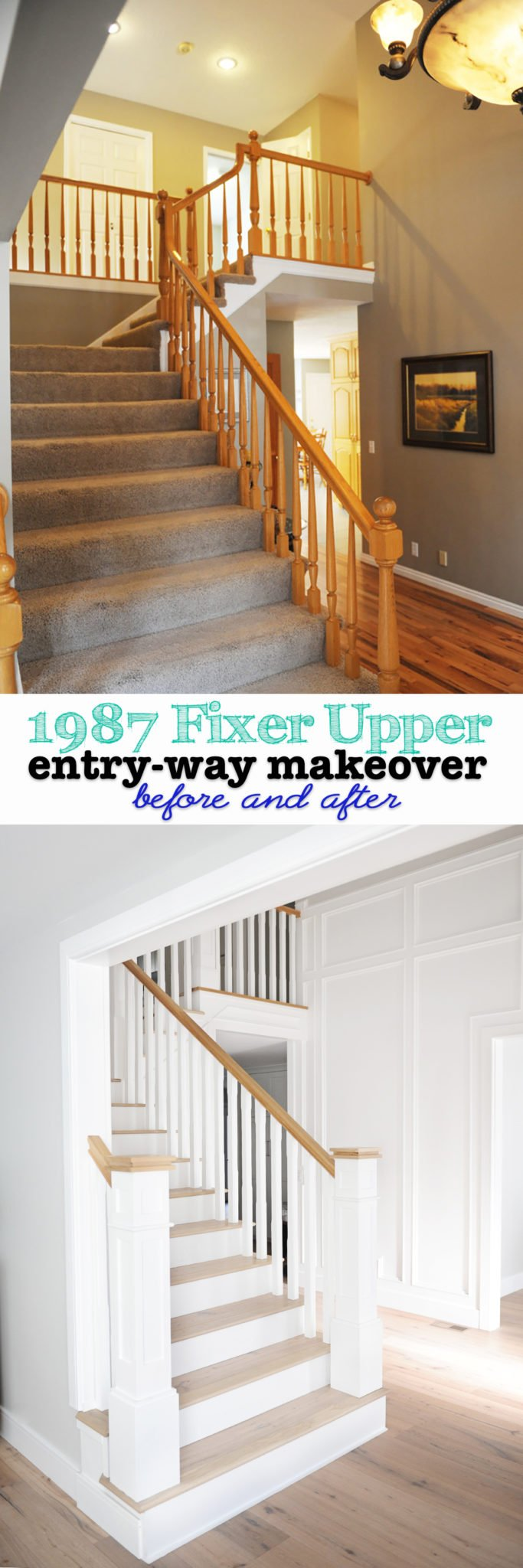 entry way makeover remodel 1987 house