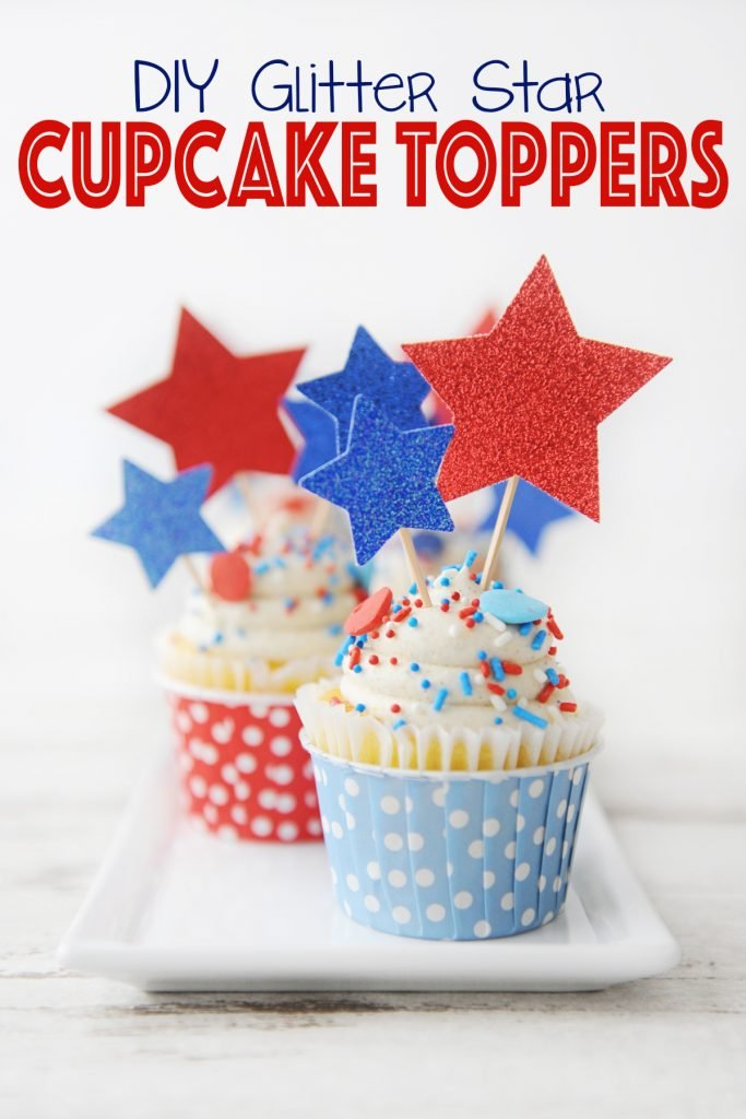 DIY Glitter Star Cupcake Toppers with Toothpicks