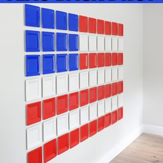 diy red white and blue party photo backdrop idea