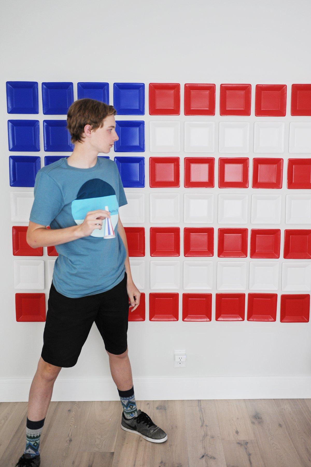 DIY flag party backdrop