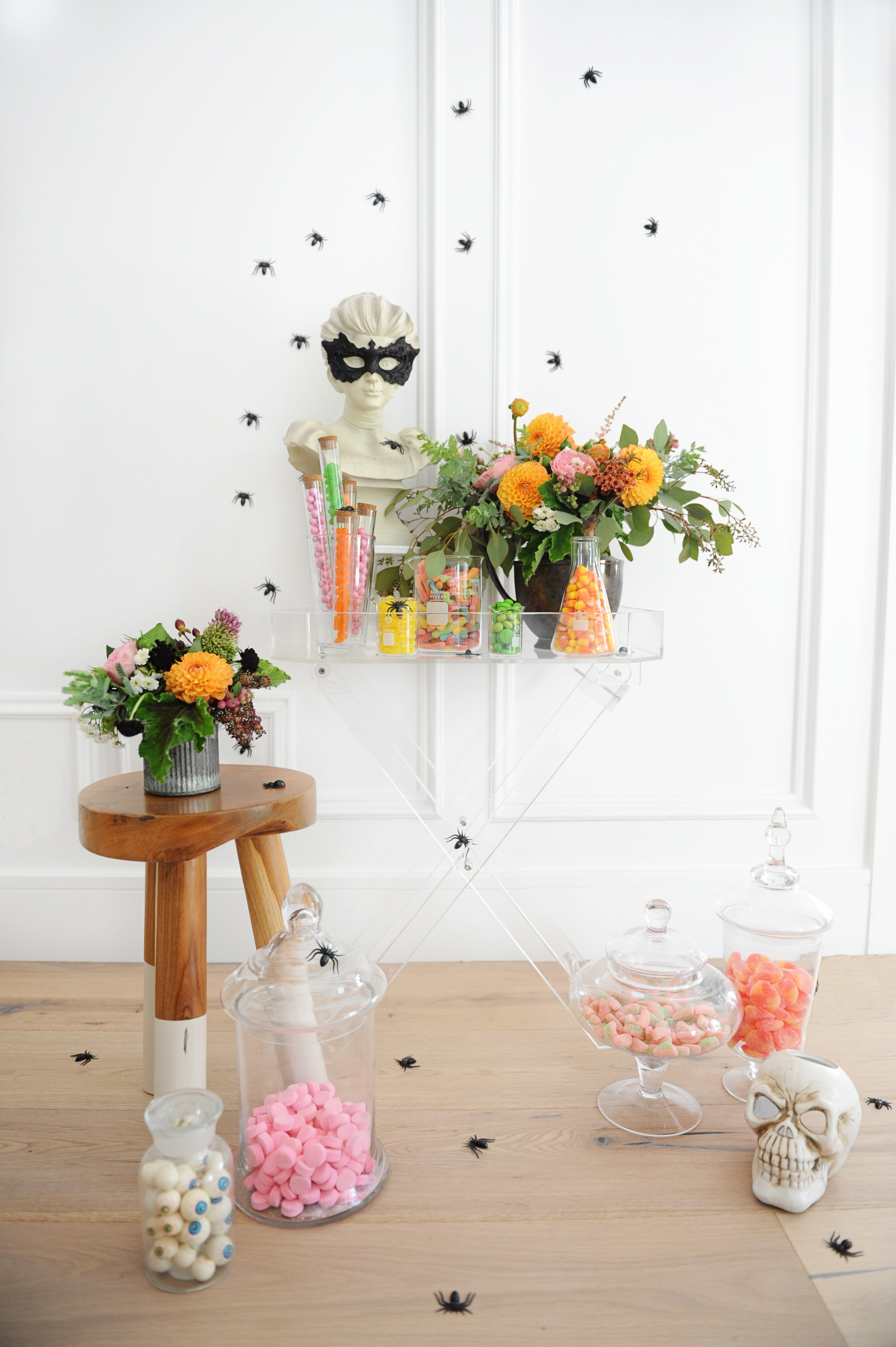 Colorful Halloween Party Candy Buffet Ideas Pink Peppermint Design