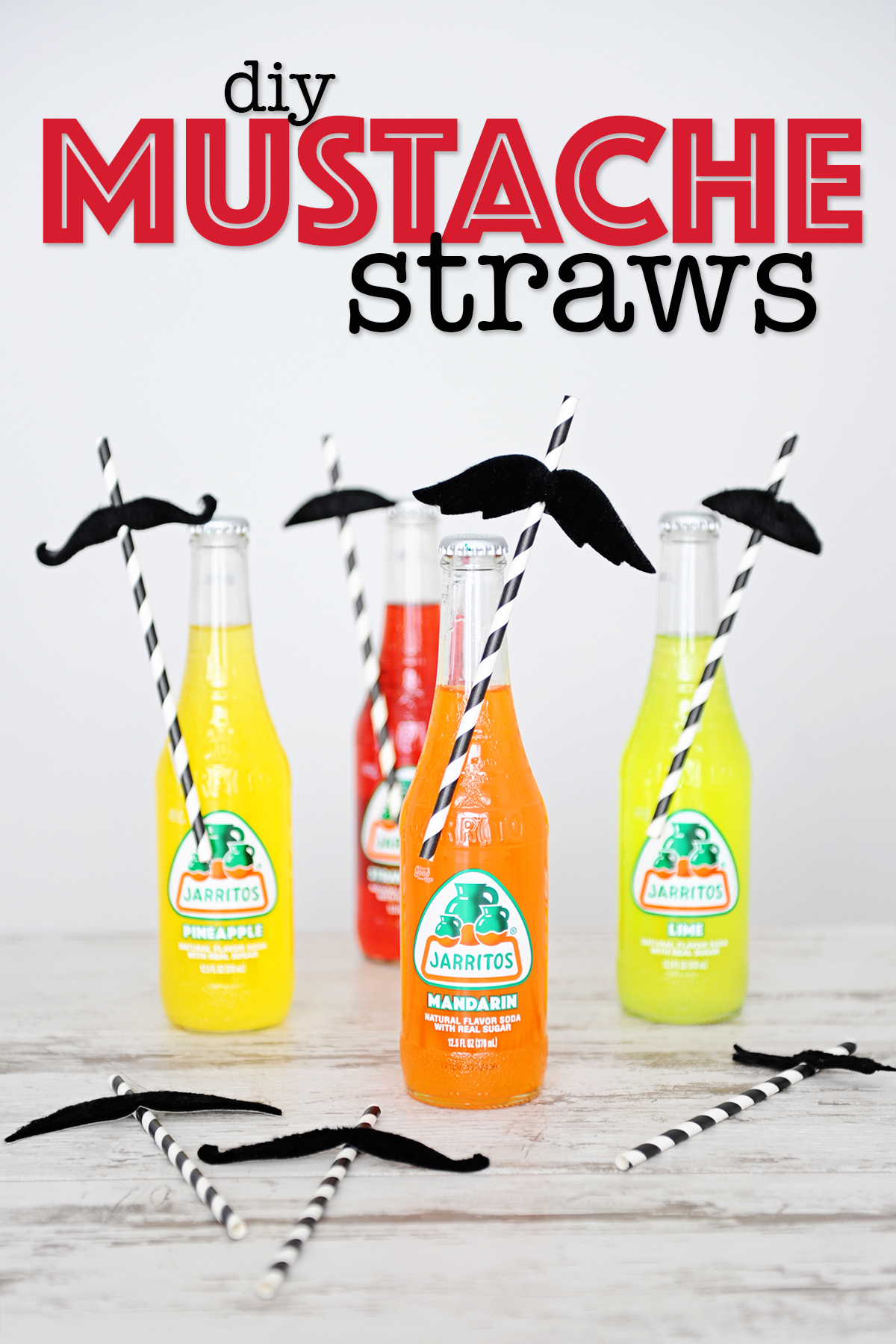 DIY mustache straw toppers