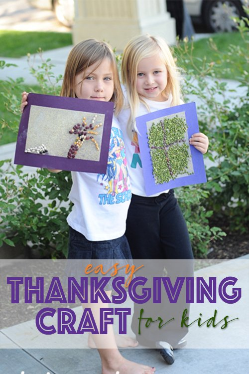 Easy Kids Thanksgiving Craft Dried Corn and Bean Mosaic