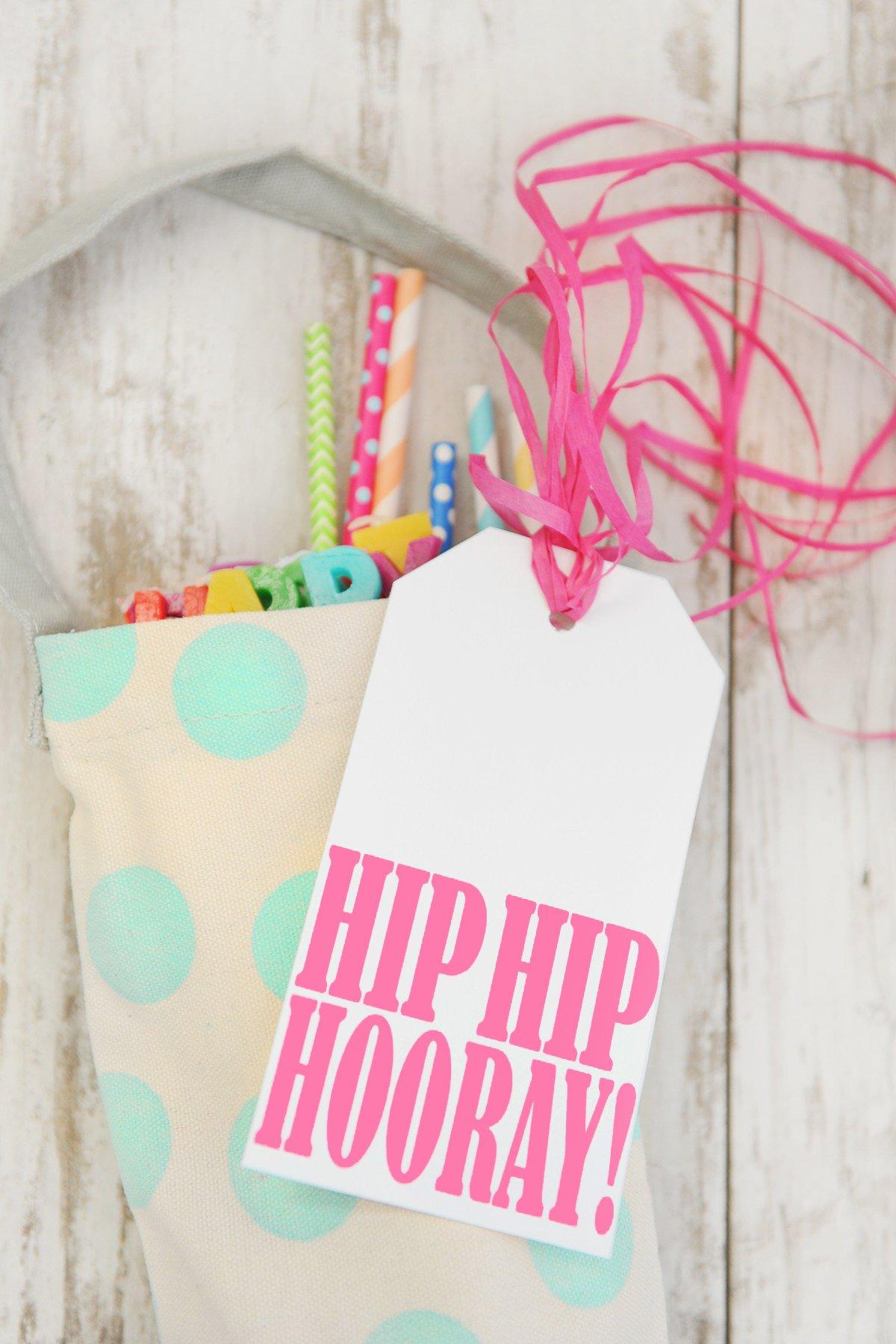hip hip hooray free birthday printable tag